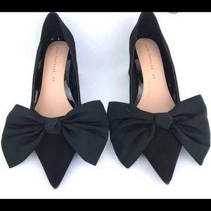 😀 Size 6 Zara black bow court shoes suede shoe